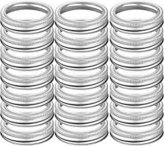 24 Pieces Wide Mouth Canning Jar Bands Replacement Metal Rings, Stainless Steel Lids for Mason Jar Large Mouth,Canning Reu...