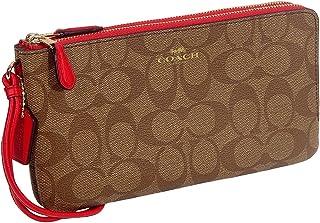d585947d15d30 Coach Signature Double Zip Wallet Cluth Bag - Khaki   Bright Pink