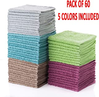 "Simpli-Magic 79148 Multi Washcloths-Pack از 60 اندازه 12 x 12-5 رنگ شامل 12 ""x 12، 60 قطعه"