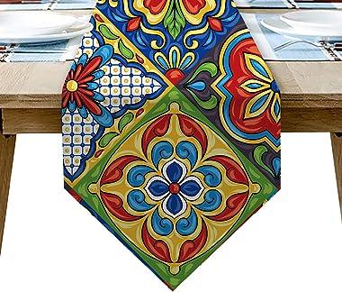 AILUER Mexican Talavera Ceramic Tile Pattern Linen Table Runners Dinner Table Setting Dresser Scarves Farmhouse Style for Par