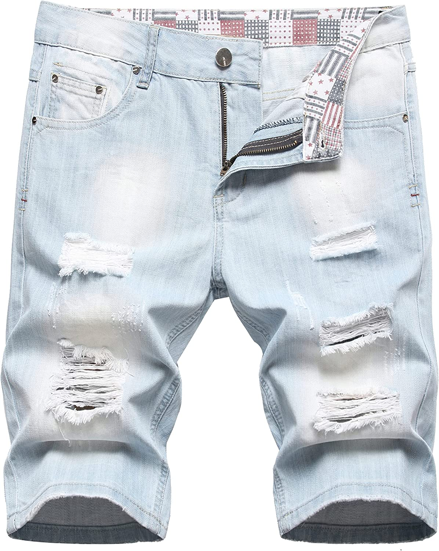 OKilr Pjik Men's Summer Casual Mid Rise Regular Distressed Denim Shorts Retro Ripped Stretchy Jeans Shorts