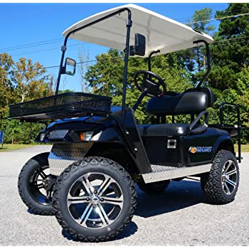 "EZGO TXT/Medalist 2001.5-2013 ELECTRIC Golf Cart Drop Axle Lift Kit & 14"" TERMINATOR Golf Cart Wheels and 23"" DOT All Terrain Golf Cart Tires Combo - Set of 4"