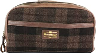 The British Belt Co. Woodchester Wash Bag, Premium Brown Woollen Check & Leather Trim, 2 Zip Compartments & Internal Pockets