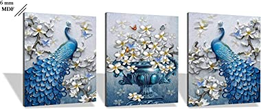SND UV Textured Peacock Set of 3 Modern Art Print MDF Frame Painting for Living Room Wall for Home Decoration (18 X 12 inch,1