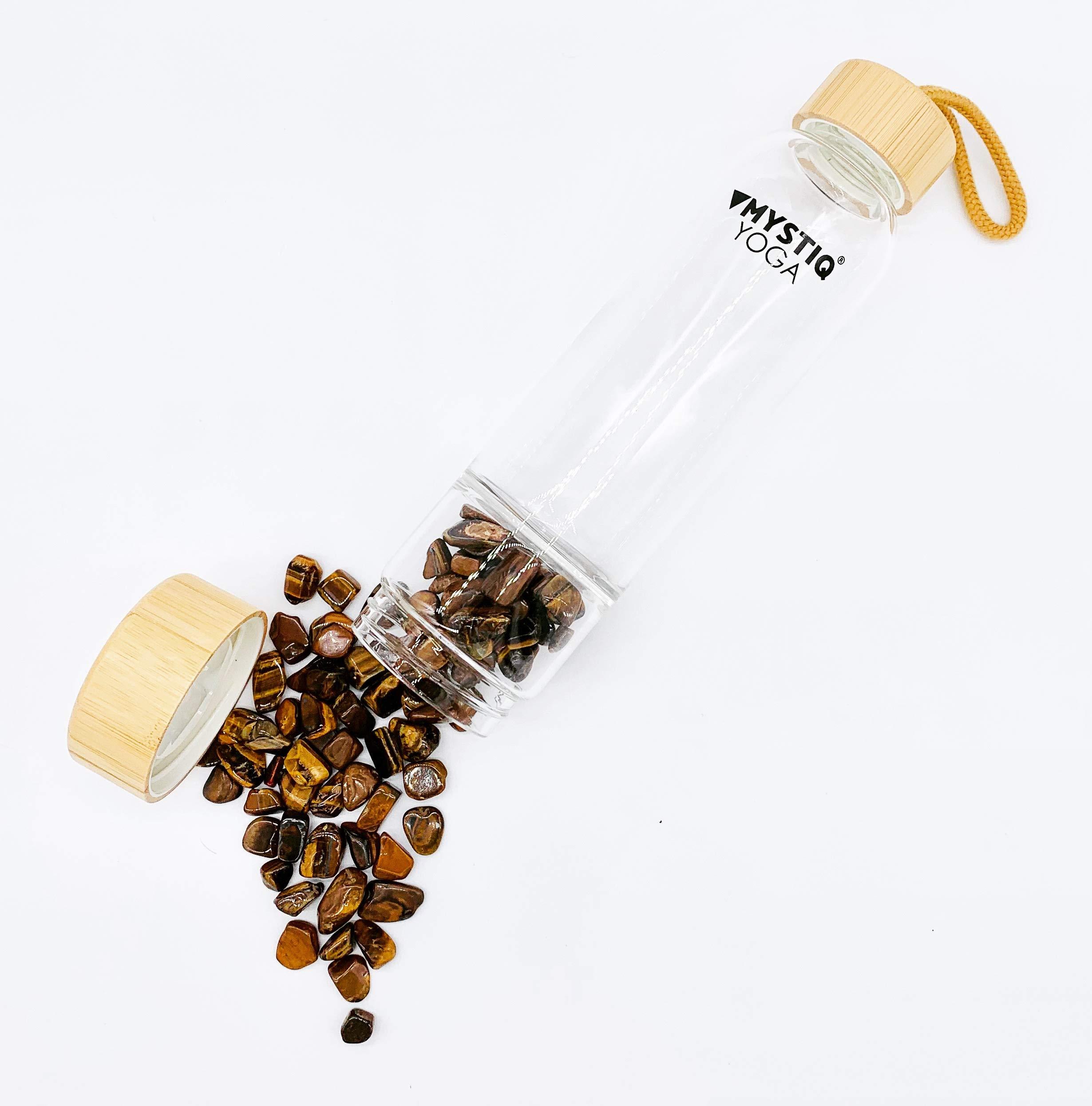 MYSTIQ YOGA | Botella de Cristal para Agua Elixir | 550ml | No BPA| Madera