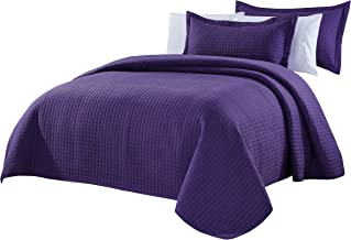 Chezmoi Collection 3-Piece Solid Modern Quilted Bedspread Coverlet Set (Queen, Purple)