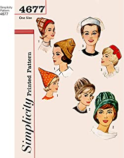 Simplicity Pattern 4677 Authentic 1960s Vintage Set of Hats, One Size