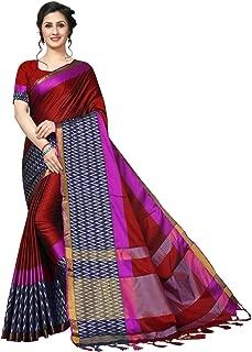 Rensila Fab Women's Cotton Silk Saree (RLA_ZIG ZAG RED_S_Red_Free Size)