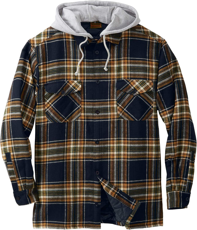Boulder Creek by Kingsize Mens Big /& Tall Flannel-Lined Twill Shirt Jacket