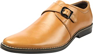Heels & Shoes Men's Natural Leather Slip-on Single Monk Strap Shoes