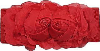Meta-U - Cinturón ancho elástico con flores para mujer