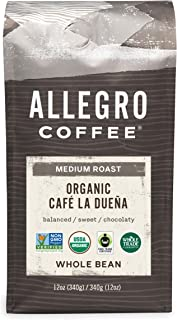 Allegro Coffee Organic Cafe La Duena Whole Bean Coffee, 12 oz