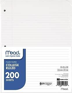Mead Loose Leaf Paper, Filler Paper, College Ruled, 200 Sheets, 10-1/2