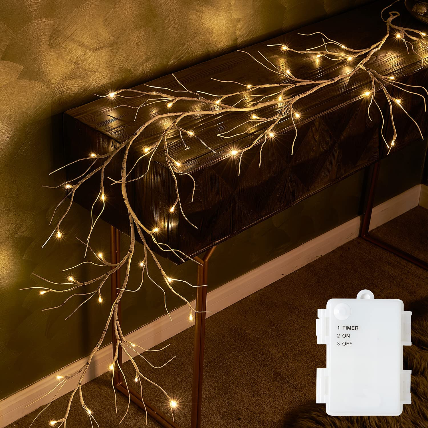 Fudios Pre-lit Twig Garland Lights Battery Spasm price Timer Operated OFFicial shop with L