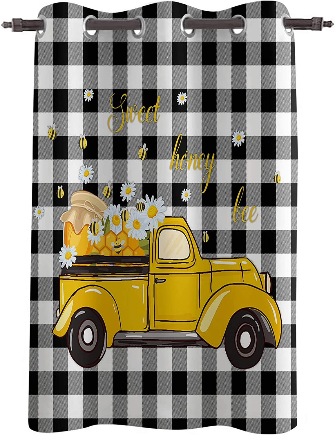 Blackout Window Attention Easy-to-use brand Curtain Drapes Summer D Cartoon Bee Sweet Honey