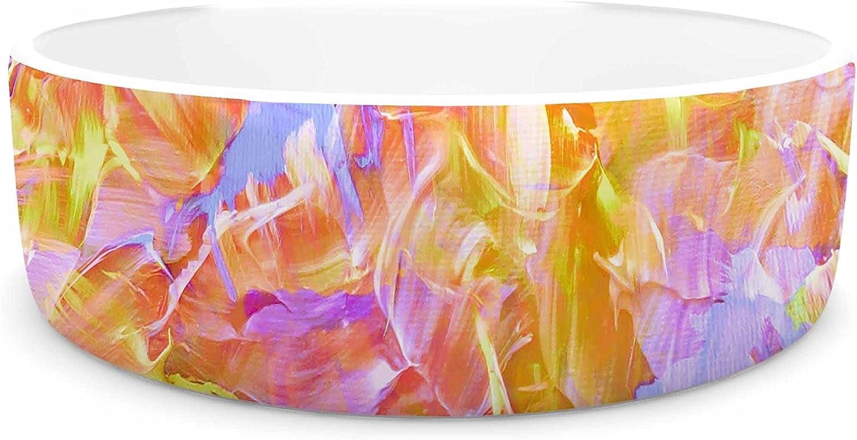 KESS InHouse EBI Emporium Bloom on  Yellow orange Pink orange Pet Bowl, 7