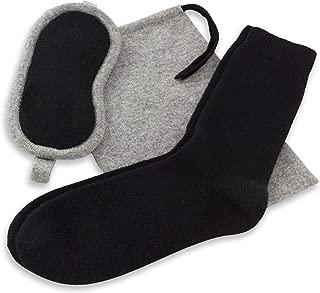 Jet&Bo Women's 100% Cashmere Travel Kit: Eye Mask, Socks & Pouch