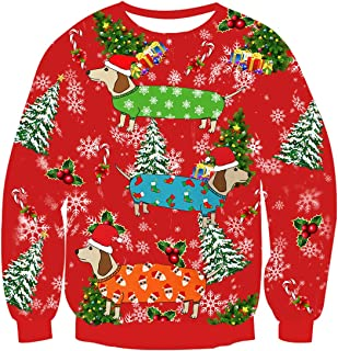Unisex Ugly Christmas Sweater 3D Printed Funny Crew Neck Pullover Sweatshirts for Xmas Party Celebrations