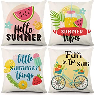 CDWERD Summer Pillow Covers 18 x 18 Inch Set of 4 Summer Decorations Farmhouse Throw Pillow Covers Pineapple Ice Cream Pil...