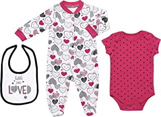 Mini B. by Baby Starters 3-Piece Layette Set- Pink and Black/Little Love Heart, 0-3 Months