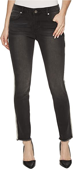 Side Trim Detail Skinny Jeans in Black