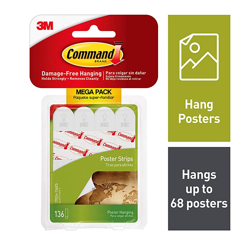 Command 17024-136ES Mega Poster Value, White, 136 Strips/Pack