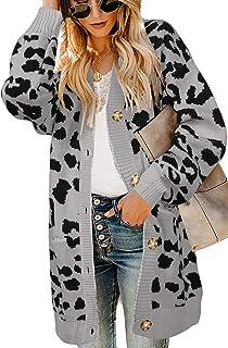 Ferbia Women Leopard Cardigan Long Open Front Sweaters Oversized Loose Knit Coat Draped Jackets with Pockets