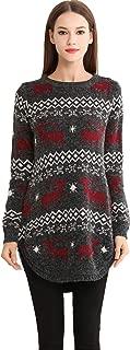 Shineflow Women's Reindeer Snowflake Midi Christmas Pullover Sweater Jumper