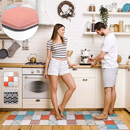 """Homcomoda Kitchen Mat Sets 2 Piece Cushioned Anti Fatigue Kitchen Rugs and Mats Waterproof Heavy Duty PVC Comfort Foam Standing Mats for Kitchen Home Sink Laundry Office-17/""""x28/""""+17/""""x47/"""""""