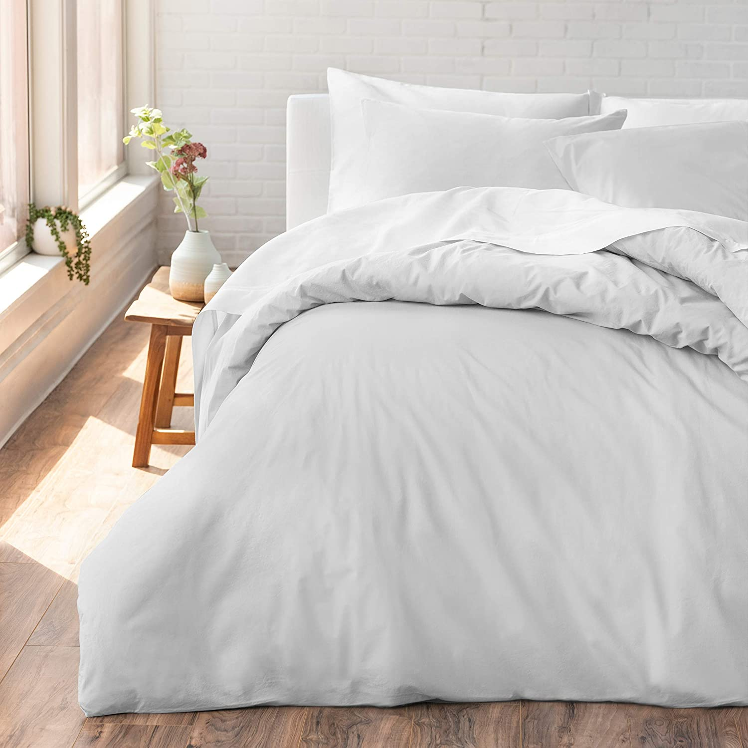 Welhome Cozy 100% Cotton Percale Washed Reversible Duvet Cover Set   King Size (White)   108