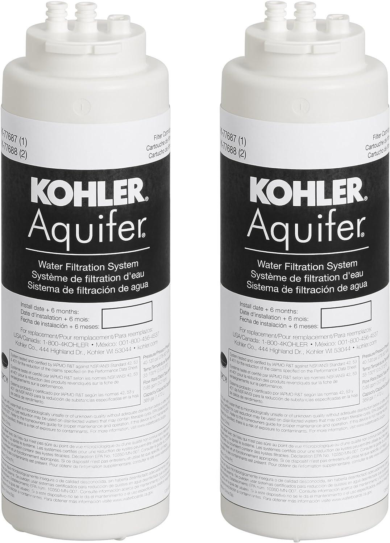 KOHLER 77688-NA Aquifer Replacement Filter Cartridge (2 Pack)