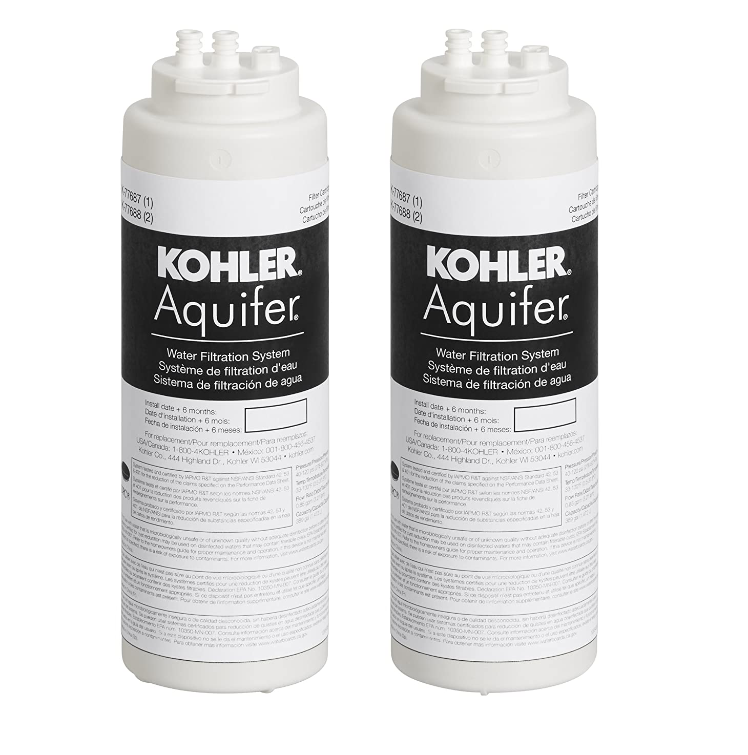 KOHLER 77688-NA Aquifer Replacement Filter Cartridge (2 Pack)