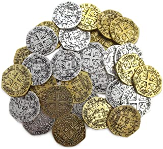 Metal Pirate Coins 32 Spanish Doubloon Thick 25MM Replicas Fantasy Metal Coin Pirates Treasure By Well Pack Box
