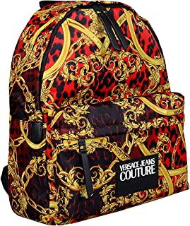 Versace Jeans Couture Red/Gold Baroque Print Classic Backpack for mens