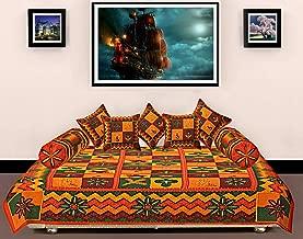 rudra enterprises 200 TC Cotton 8-Piece Diwan Set - Multi-Color-Kantha Work