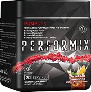 PERFORMIX Pump v2x Stimfree PreWorkout, Enduring Muscle Pump, 20 Servings, Sweet Tea Lemonade 10.9 oz