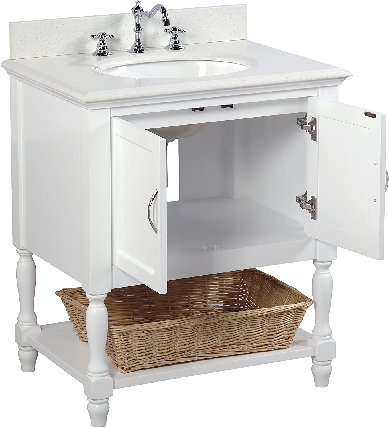 Amazon Com Beverly 30 Inch Bathroom Vanity Quartz White Includes White Cabinet With Stunning Quartz Countertop And White Ceramic Sink Home Improvement