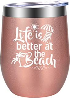 Life is Better at the Beach - Beach Gifts for Women - Funny Birthday, Summer Wine Gift for Wife, Mom, Grandma, Gigi, Best Friend, Coworker, Sea Lover for RV, Boating, Camping - LEADO Wine Tumbler Cup