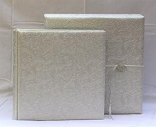Coffret Album de mariage Coffret Cuir 35 x 35 floral Blanc Perlé photo Perle dvd cd photo de Mariage Anniversaire bouton s...