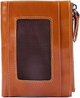BIG SALE-AINIMOER Women's RFID Blocking Leather Small Compact Bi-fold Zipper Pocket Wallet Card Case Purse