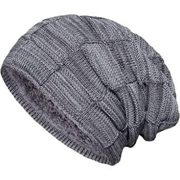 Rabbit Hat for Men and Women Winter Warm Hats Knit Slouchy Thick Skull Cap Black