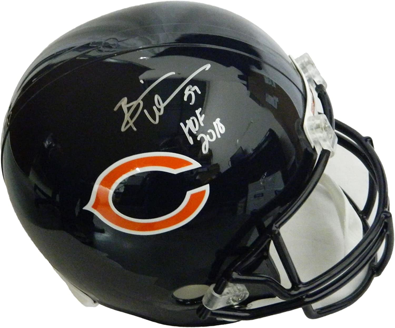 Signed Brian Urlacher Helmet  Riddell Full Size Replica w HOF 2018  Autographed NFL Helmets