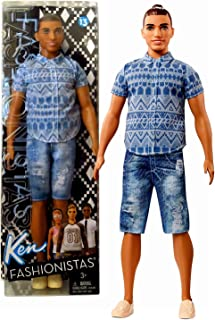 Barbie Year 2016 Ken Fashionistas Series 12 Inch Doll - Muscular Native American Ken FNJ38 in Blue Tribal Prints Shirt and Distressed Denim Shorts