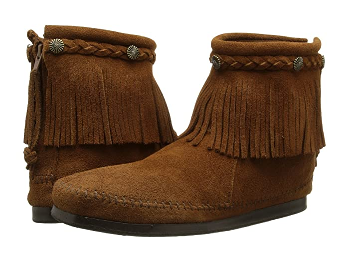 Mens Vintage Shoes, Boots | Retro Shoes & Boots Minnetonka Hi-Top Back Zip Boot Dusty Brown Suede Womens Zip Boots $62.95 AT vintagedancer.com