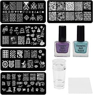 Lifestyle-You Nail Stamping Kit With 5 Rectangular Steel Image Plates, Silicone Stamper & Scraper & Stamping Nail Polish