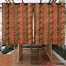 Sunnyhome Curtains for Living Room Orange Traditional Old Paisley for Porch&Beach&Patio W 72
