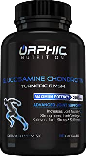 Glucosamine Chondroitin - Turmeric and MSM Anti Inflammatory Supplements for Joint Cartilage Health - Stiffness & Arthritis Pain Relief for Men, Women - Advanced Formula, Increases Mobility - 2100mg