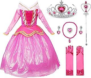 FYMNSI Disfraz de Princesa Aurora Ni/ñas Carnaval Cosplay de la Bella Durmiente Rosa Tul Tutu Largo Vestido de Fiesta Ceremonia Halloween Navidad Cuento de Hadas Disfraces para 4-12 A/ños