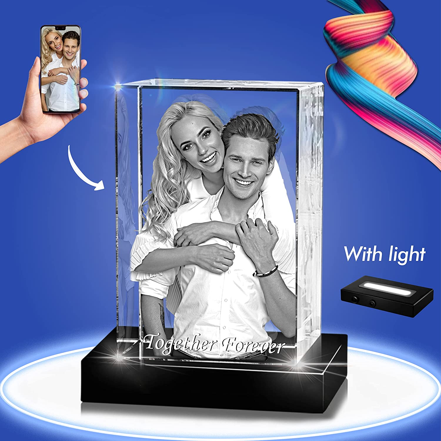 Selling and selling 3D Crystal [Alternative dealer] Photo - Picture Personaliz Cut Cube Hand