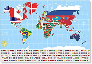 Mr Columbus Scratch Off World Map Poster – with Country Flags, for Travel, Education, and Fun – Perfect to Travelers and Childrenּ+Free Ebook, Scrtcher, Wiping Cloth and Tube